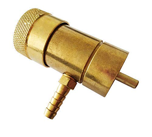 Oxygen Regulator for Brewing, Oxygen Valve for Disposable Tanks Solid Brass Oxygen Tank Adapter with Barb Fitting ()