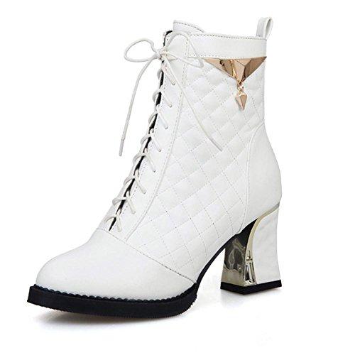 y Plata 40 Oro white goma grueso desgaste HFour cortas negro antideslizante delantera Blanco Seasons correa de Women H XIAOGANG Plaid metal y botas resistente CxSXwq7C