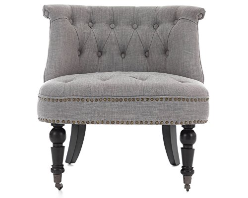 Warmiehomy Linen Fabric Dining Chair Solid Wood Legs Button Scroll High Back NEW