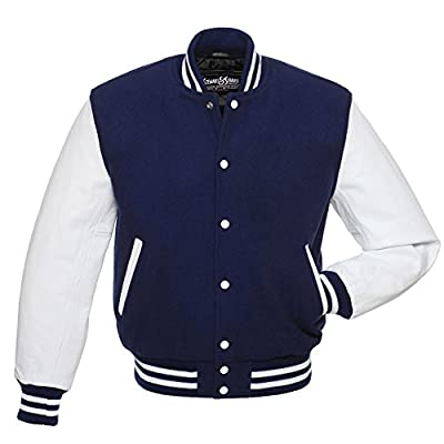 C104 Navy Blue Wool White Leather Varsity Jacket Letterman Jacket
