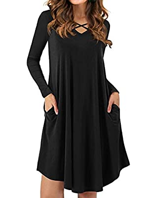 Iandroiy Women's V-neck Criss Cross Long Sleeves Loose Dresses with Pockets Plain Mini Dresses