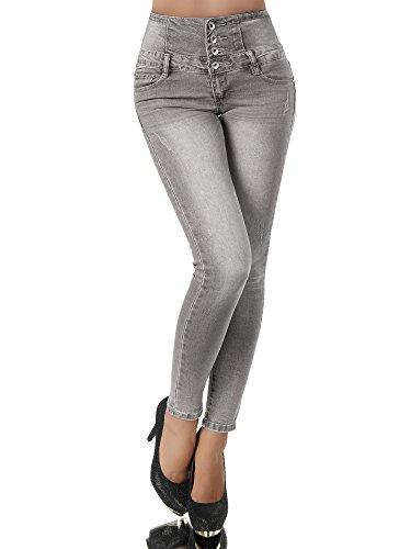 Diva-Jeans - Jeans - Skinny - Uni - Femme -  Gris - W40