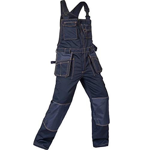 - BAUSKYDD Work Bib Pants Multi-Pockets Overalls B136 (185/96A) Dark Blue