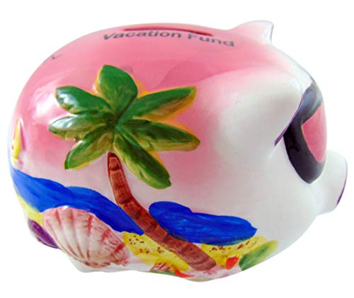 Westman Works Vacation Fund Piggy Bank Girl's Money Saver Embossed Pig with Sunglasses Handpainted Tropical Scene