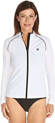 Coolibar UPF 50+ Women's Long Sleeve Water Jacket - Sun Protective White XL