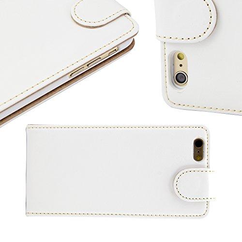 Juste valeur Iphone 6 plus (5,5-Zoll) Blanc-Leder-Schlag-automne-Abdeckung mit zwei Kartensteckplatz für Apple Iphone 6 plus (5,5 Zoll)