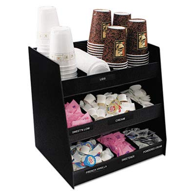 Vertiflex Vertical 3-Shelf Condiment Organizer, 9 Compartments, 14.5 x 11.75 x 15 Inches, Black (VFC-1515)