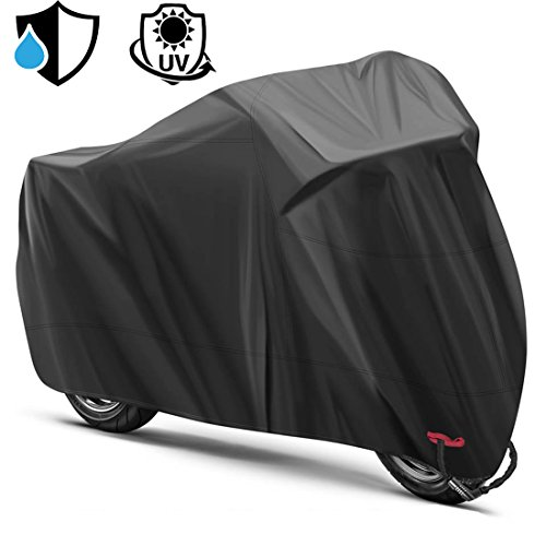 Motorcycle Cover Waterproof Outdoor,All Weather Protection Motorcycle Shelter,Tear-proof,Durable and Anti-thief Lock Hole Designed for 104 Inch Mortos Like Honda, Yamaha, Suzuki, Harley …