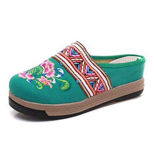 Womens Wedge Sandals Bohemia Spring Summer Chinese Peony Floral Embroidered Mules Flatform Platform Espadrilles Green ()