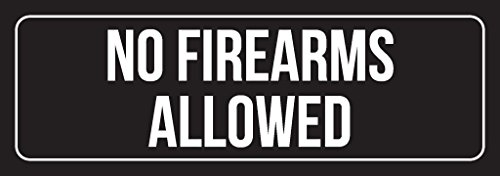 Black Background with White Font No Firearms Allowed Outdoor & Indoor Office Plastic Wall Sign (3x9) - Single