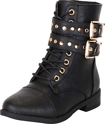 Cambridge Select Girls' Studded Strappy Lace-Up Low Heel Combat Boot (Toddler/Little Kid/Big Kid),11 M US Little Kid,Black PU ()
