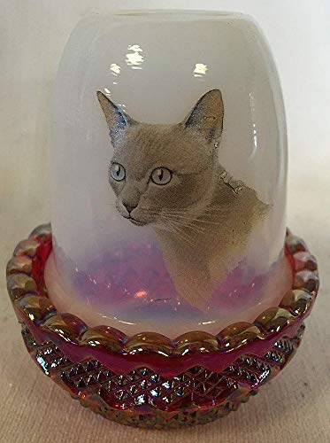 - Milk Glass & Red Carnival Glimmer Candle Fairy Lamp w/Cat