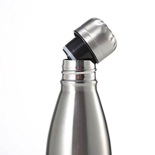 Huskey 17oz Double Wall Vacuum Insulated Stainless Steel Water Bottle Perfect for Outdoor Sports Camping Hiking Cycling Picnic (Silver / Wood / Orange) (Silver) by HUSKEY (Image #3)