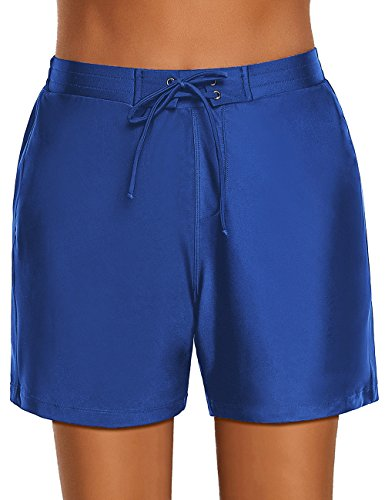 Utyful Women's Royal Blue Swim Board Shorts Summer Lace-up Tie Beach Stretch Swimsuit Bottom Size S (Royal Blue Lining)