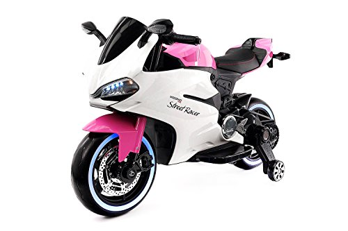 2018 Luxury Racer Children's 12V Powered Ride-On Toy Motorcycle W/ Leather Seat, Rubber Tires, Bonus Safety Feature - Pink Power Racer