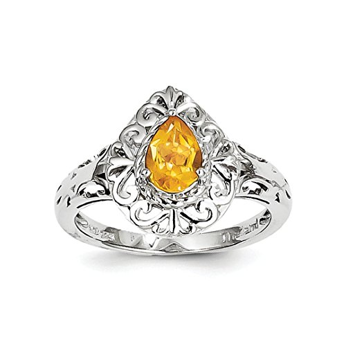 ICE CARATS 925 Sterling Silver Yellow Citrine Teardrop Band Ring Size 6.00 Gemstone Fine Jewelry Gift Set For Women Heart