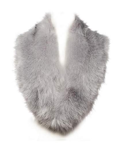 Lucky Leaf Women Winter Faux Fur Scarf Wrap Collar Shrug for Wedding Evening Party (Light Grey)