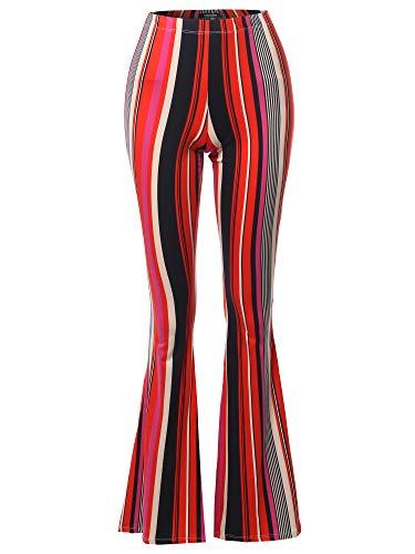 SSOULM Women's Lightweight High Waist Bell Bottom Flared Pants STRIPEORANGE XL