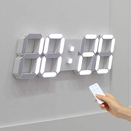 Mooas 3D LED Wall Clock Big Plus White