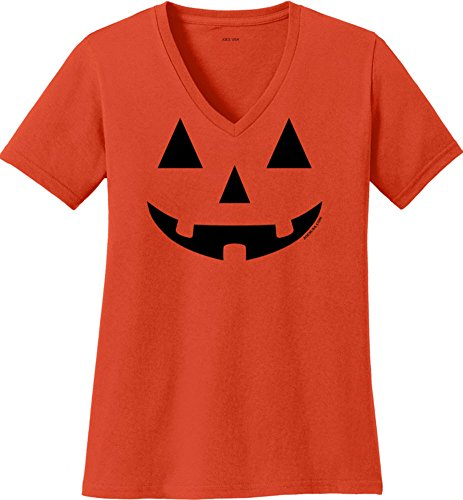 JACK O' LANTERN PUMPKIN Ladies Orange V-Neck Shirt-L -