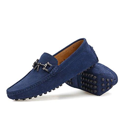 Tda Heren Nieuwe Designer Gespen Suède Instappers Drving Bootschoenen Blauw