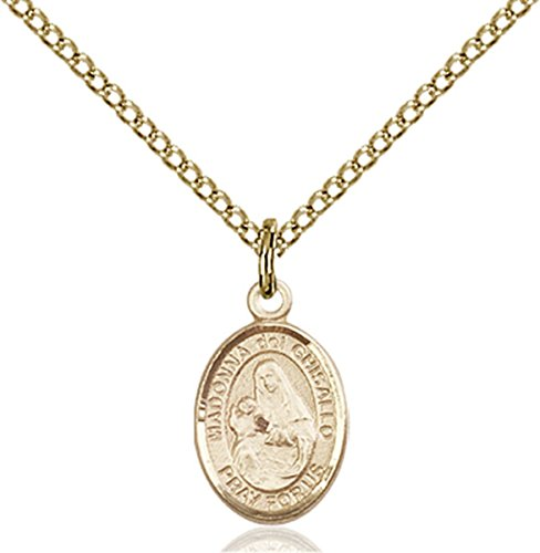 Patron Saints by Bliss 14K Gold Filled Saint Madonna del Ghisallo Petite Charm Medal, 1/2 Inch