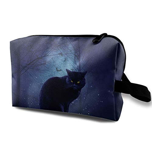 Halloween Little Black Cat Pumpkin Light Candle Travel Cosmetic Bag,Lightweight and Convenient Personalized Custom Cosmetic Bag ()