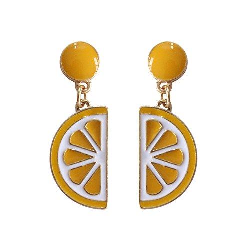 (CHOA Cute Small Pineapple Kiwi Orange Banana Earrings Fruit Ear Nail Ear Line Earring for Women (Lemon))