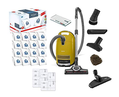 Complete C3 Calima, Miele Vacuum Bags Canister Cleaner, Canary Yellow, HEPA Filter, Turbobrush STB 305-3, Performance Pack 16 Type GN (Complete Set), with Bonus Premium Microfiber Cleaner Bundle