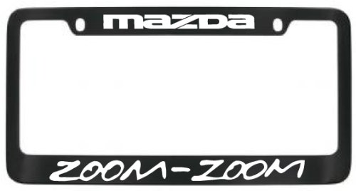 amazoncom mazda zoom zoom black metal license plate frame with 2 free caps automotive