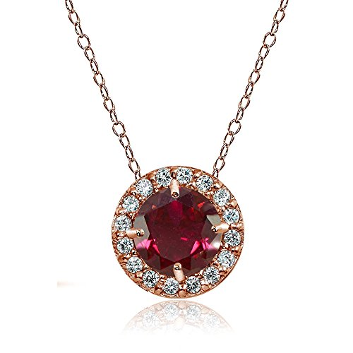 Rose Gold Flashed Sterling Silver Created Ruby and Cubic Zirconia Accents Round Halo Necklace