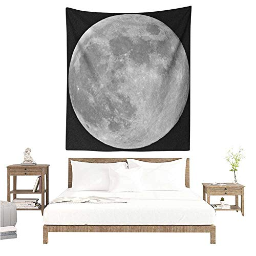 Willsd Moon DIY Tapestry Black and White Full Moon Detailed Photography of Heavenly Space Themed Image Occlusion Cloth Painting 54W x 72L INCH Black Pale Grey