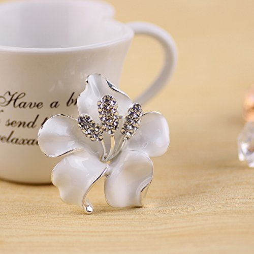 Merdia Brooch Pin for Women Flowers Brooch with Created Crystal White 29.8g 7h8hP9qlG