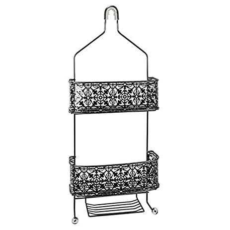 Amazon.com: Taymor Lace Shower Caddy with Acrylic Finials Black ...