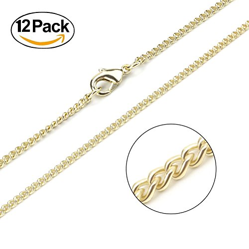 Wholesale 12PCS Gold Plated Solid Brass Curb Chain Bulk for Jewelry Making (18 Inch(2MM))