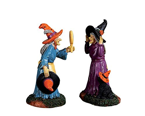 Miniature Witch - Lemax Spooky Town Collection Black Cat Millinery, Set of 2 #72490