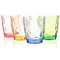Drinking Glasses Set Acrylic Glassware for Kids 11oz Colored Plastic Tumblers Cups Picnic Water Glasses Unbreakable Juice Drinkware for Camping Restaurant Beach Party BPA Free Dishwasher Safe