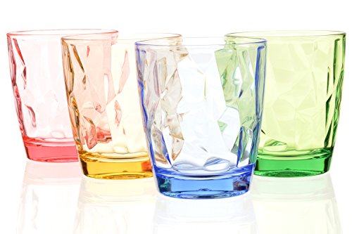 11oz Break Resistant Colored Acrylic Restaurant Party Cups Bar Beer Juice Drinking Glasses Unbreakable Unique Camping Birthday Red Wine Glasses Plastic Kid Tumbler Cup for Tea, Cocktail Set of 4 (Glass Tumbler Cocktail)