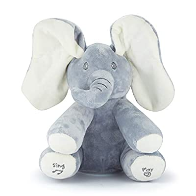 """JamBea Peek-a-Boo Elephant Plush Toy- Animated Hide and Seek Game, Music, Singing Stuffed Animal, Doll for Education for Both a boy and Girl and Baby, White, 14"""""""