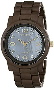 Sprout Women's ST/5037BMBN Diamond Dial Brown Corn Resin  Watch