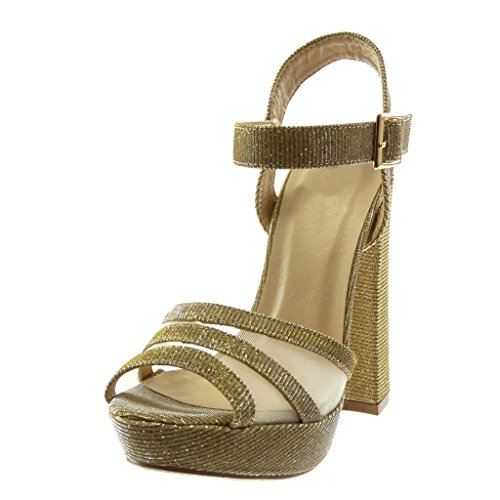 Angkorly Women's Fashion Shoes Sandals Mules - Platform - Ankle Strap - Peep-Toe - Shiny - Glitter - Fishnet Block high Heel 13.5 cm Gold 9FdgAv5wVa