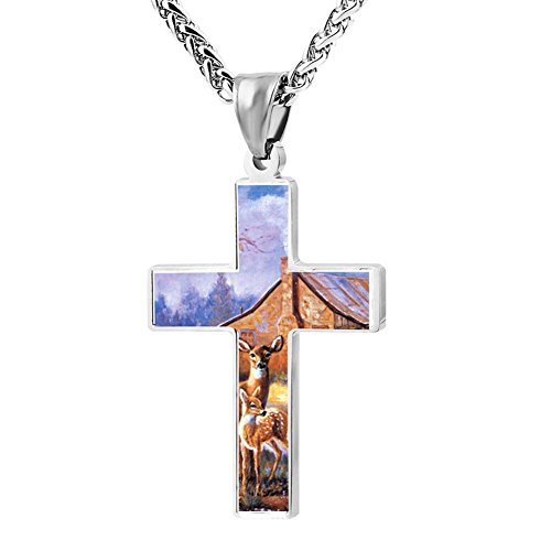 Gjghsj2 Cross Necklace Pendant Religious Jewelry Deer Painting