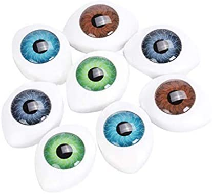 DierCosy Plastic Scary Eyes Hollow Oval Flat Eye Half DIY Craft Puppet Porcelain or Reborn Doll Bear Stuffed Animal Toys Random 4 Pairs