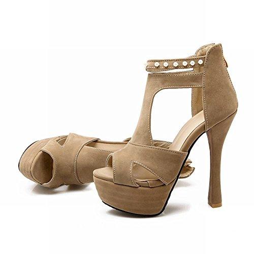 Mee Shoes Damen modern populär t-strap Knöchelriemchen Peep toe Trichterabsatz Reißverschluss mit falschen Perle Plateau Sandalen Aprikosebraun