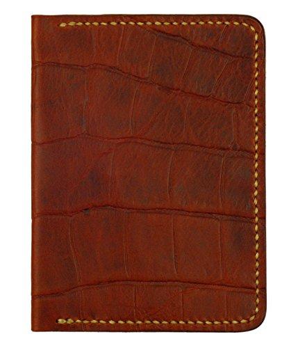 Mahogany Passport Holder (Leather Passport Cover, Mahogany Crocodile Grain Leather w/ Tan Interior, Handmade)