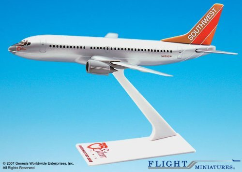 Flight Miniatures Southwest Airlines SWA Silver One Boeing 737 300 1:200 Scale Display Model - Airlines Aircraft Southwest