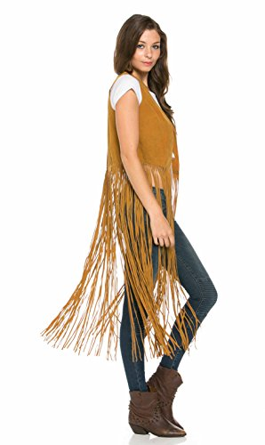Ultra Fringe Suede Maxi Vest in Tan