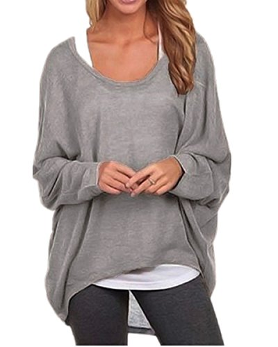ZANZEA Women's Long Batwing Sleeve Loose Oversize Pullover Sweater Top Blouse Gray US 12/Tag Size XL
