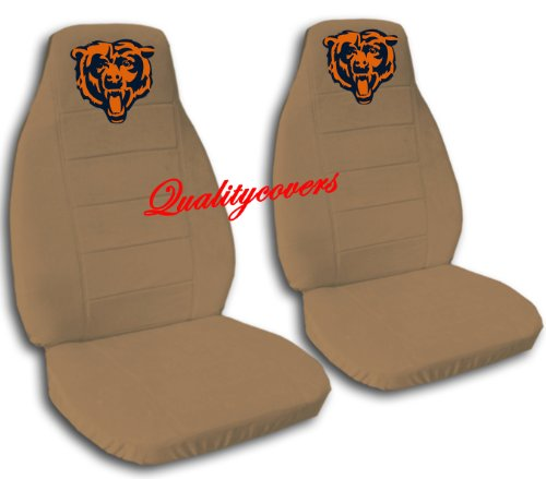 2 Brown Chicago seat covers for a 2007 to 2012 Chevrolet Silverado. Side airbag friendly. by Designcovers