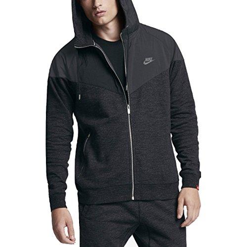 NIKE Sportswear Windrunner Men's Full-Zip Hoodie (Black Heather, Medium)